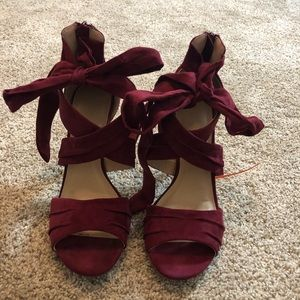 Lightly Worn Maroon Lace Up Pumps